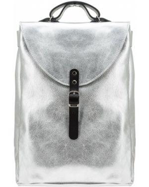 Кожаный рюкзак с откидным клапаном серебряный Kokosina
