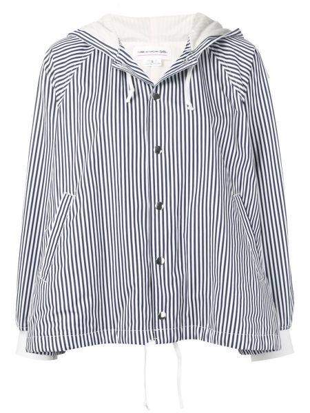 Белый удлиненный пиджак с карманами в полоску Comme Des Garçons Girl