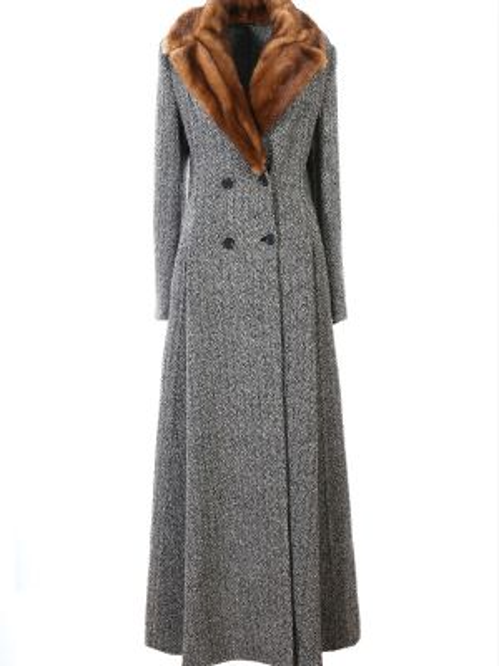 Коралловое приталенное шерстяное длинное пальто с воротником Ermanno Scervino
