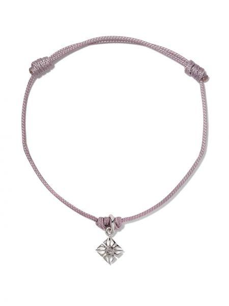 Нейлоновый фиолетовый золотой браслет с подвесками Shamballa Jewels