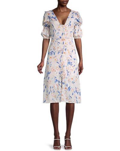 Платье А-силуэта в цветочный принт на пуговицах с V-образным вырезом Bcbgeneration