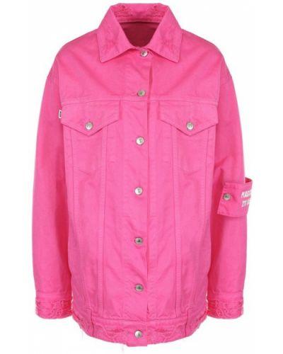 Джинсовая куртка длинная свободная с поясом Msgm