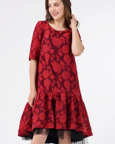 Платье осеннее красный Ricamare