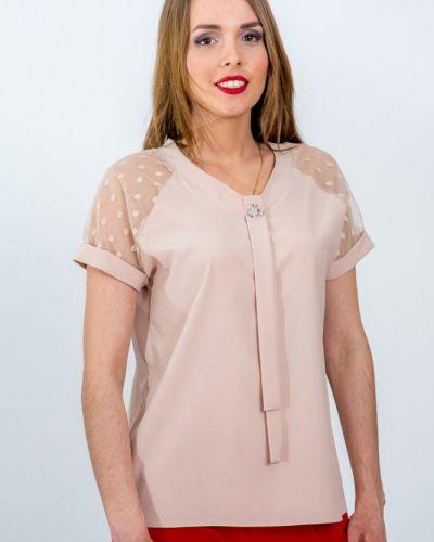 Прямая блузка с брошью в горошек с рукавом реглан Belirini