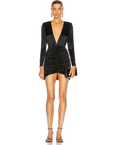 Czarna sukienka na imprezę koronkowa z jedwabiu Retrofete