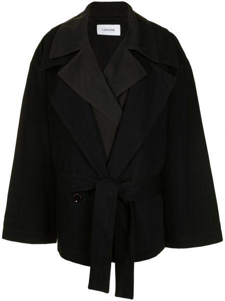 Czarny długi płaszcz bawełniany z długimi rękawami Lemaire