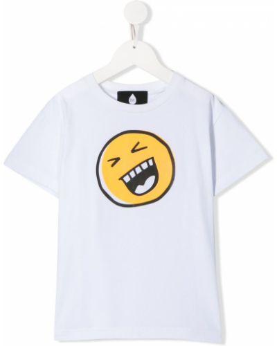 Хлопковая белая футболка круглая с круглым вырезом Natasha Zinko Kids