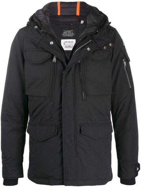 Czarna kurtka z kapturem bawełniana Schott