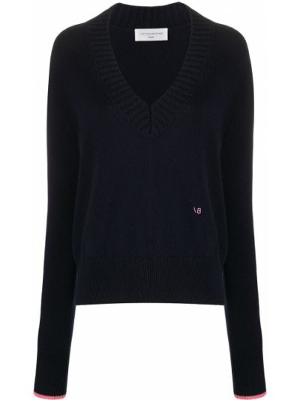 Шерстяной синий свитер с V-образным вырезом в рубчик Victoria Beckham