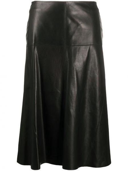 Кожаная черная расклешенная с завышенной талией юбка Arma