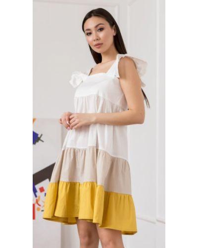 Повседневное желтое платье миди трапеция Leo Pride
