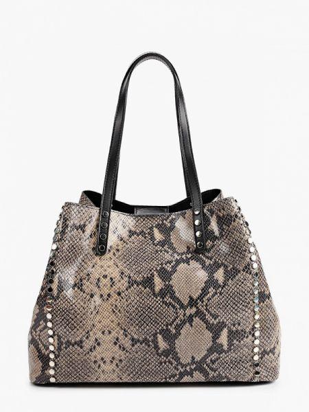 Кожаная сумка шоппер бежевый Lamania