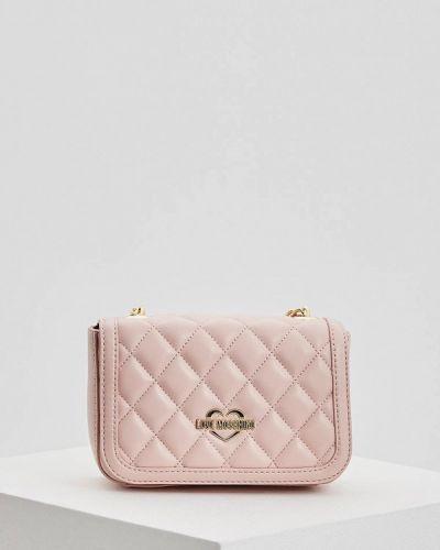 Розовая сумка через плечо Love Moschino