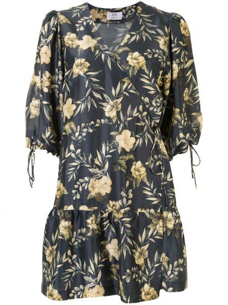 Шелковое серое платье с запахом с V-образным вырезом Sir.