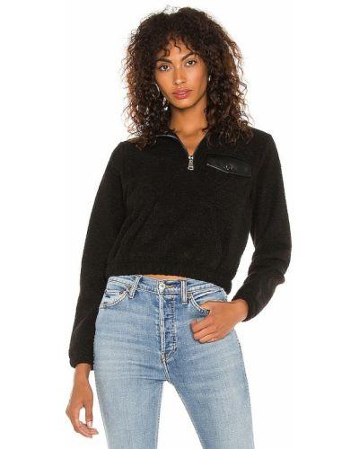 Комбинированный черный пуловер на молнии David Lerner