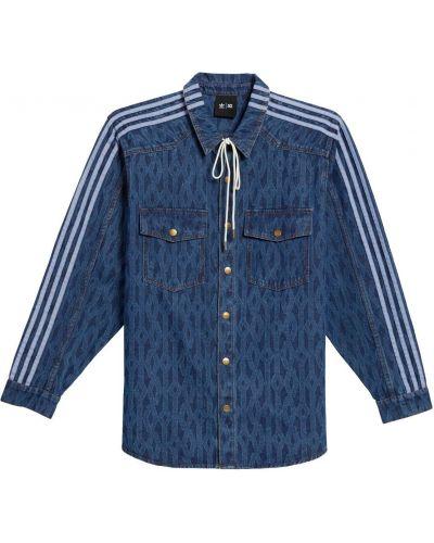 Niebieska koszula z haftem Adidas X Ivy Park