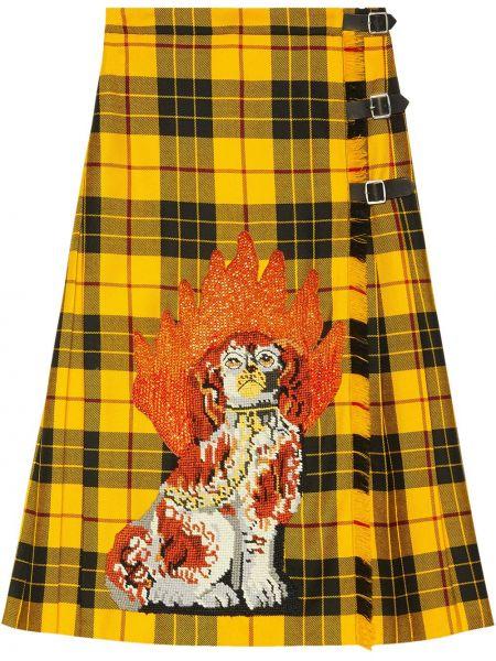 Кожаная юбка в клетку с вышивкой Gucci