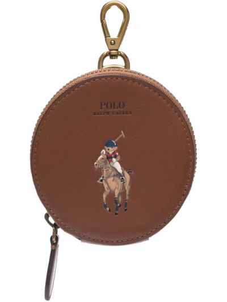 Коричневая кожаная барсетка Polo Ralph Lauren