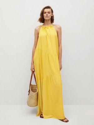 Желтое прямое платье Mango