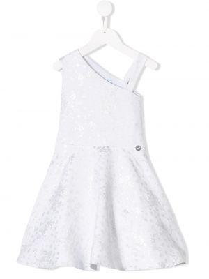 Хлопковое белое расклешенное приталенное платье Lanvin Enfant