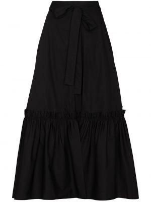 Хлопковая черная юбка миди с запахом с оборками Rosetta Getty