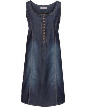 Платье мини джинсовое на пуговицах Bonprix