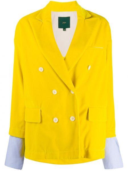 Желтый бархатный классический пиджак двубортный Jejia