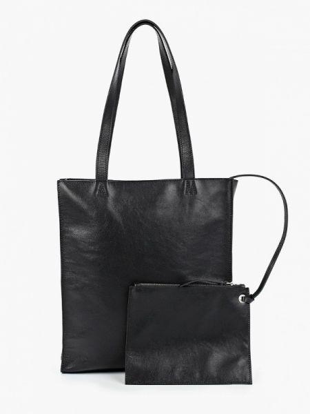 Черная кожаная сумка с камнями из натуральной кожи Asya Malbershtein