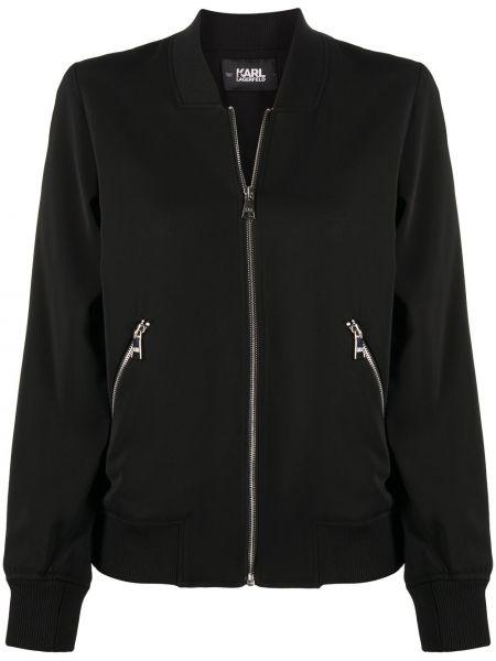 Czarny długa kurtka z mankietami z kieszeniami z długimi rękawami Karl Lagerfeld