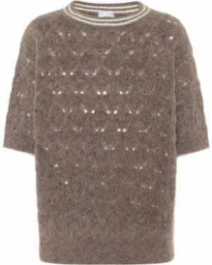 Открытый бежевый свитер из мохера Brunello Cucinelli