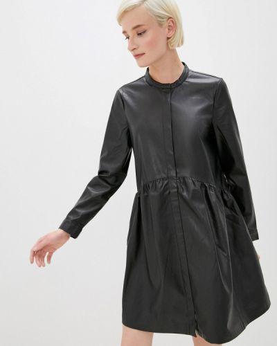 Кожаное черное платье Only