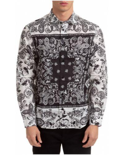 T-shirt z dekoltem z mankietami z aplikacjami Versace Jeans Couture