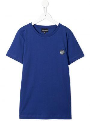 Niebieski dres bawełniany krótki rękaw Emporio Armani Kids