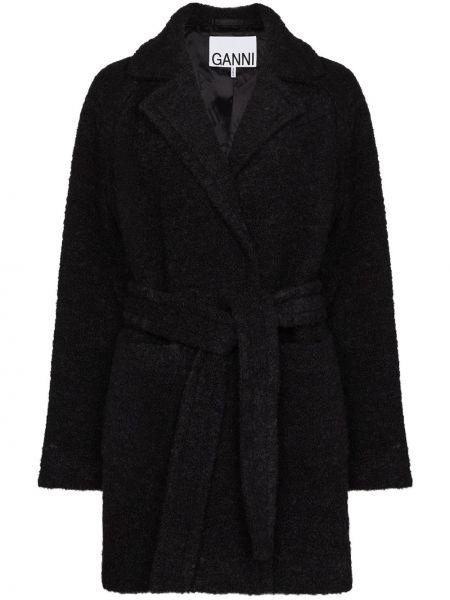 Серое длинное пальто букле с запахом Ganni
