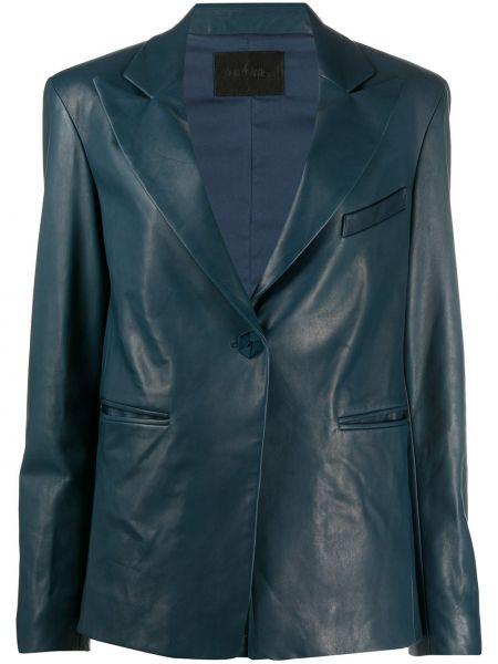 Приталенный синий кожаный пиджак Drome