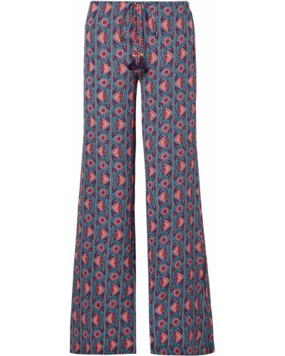 Niebieskie spodnie z jedwabiu Figue