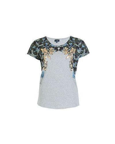 Серая хлопковая футболка с цветочным принтом Armani Jeans