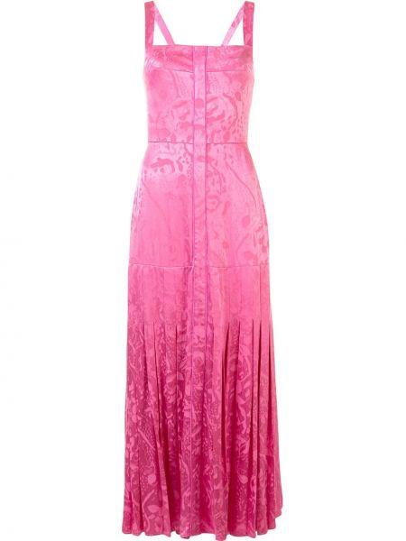 Плиссированное розовое платье миди со складками на молнии Alexis