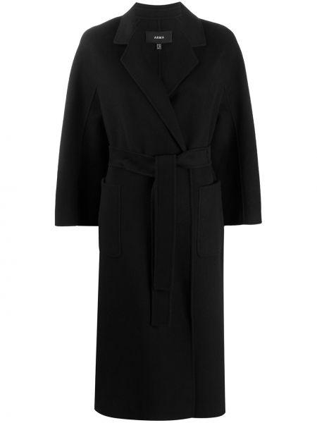 Черное шерстяное пальто с поясом с лацканами Arma