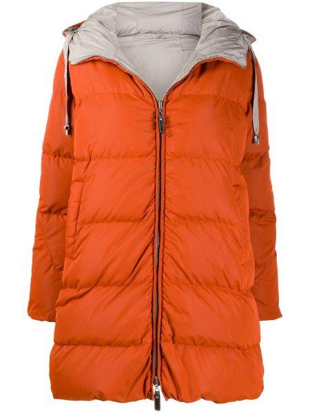 Pomarańczowy płaszcz z kapturem z długimi rękawami Max Mara The Cube