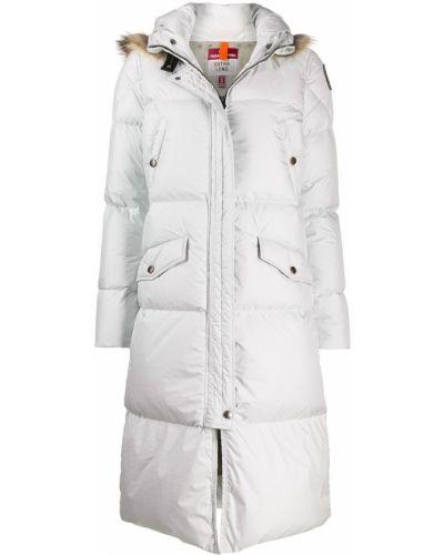 Белое длинное пальто с опушкой Parajumpers
