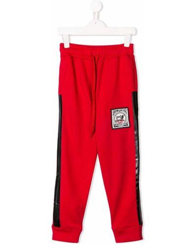 Спортивные красные прямые прямые брюки с карманами Les Bohemiens Kids