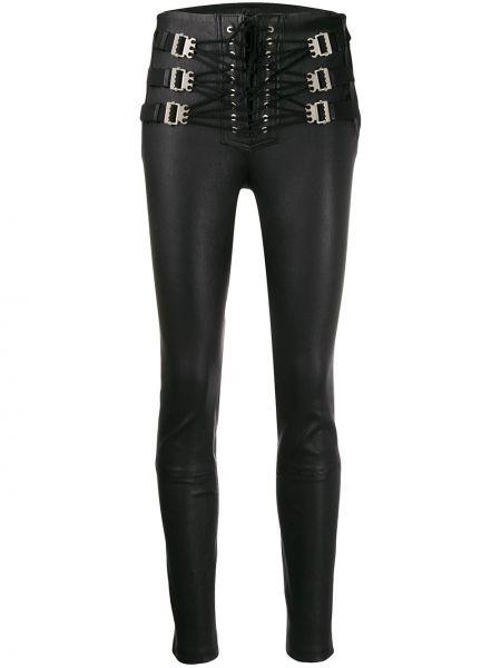 Черные кожаные леггинсы на шнуровке Unravel Project
