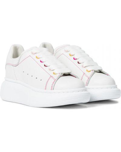 Trening skórzany biały sneakersy Alexander Mcqueen Kids