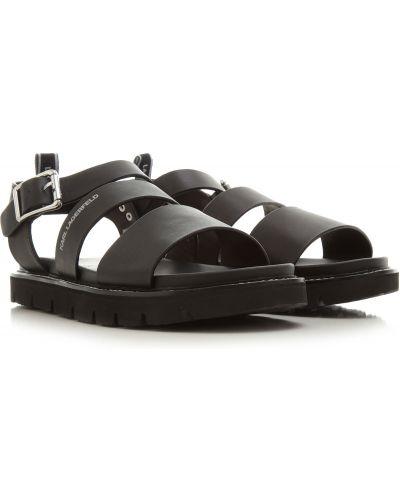 Czarne sandały skorzane Karl Lagerfeld