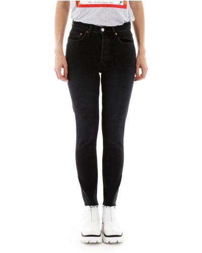 Jeansy z wysokim stanem zapinane na guziki bawełniane Re/done