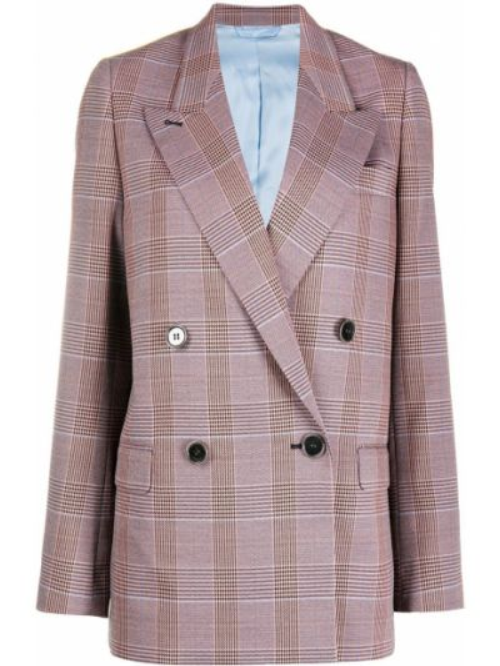 Розовый пиджак в клетку двубортный Acne Studios