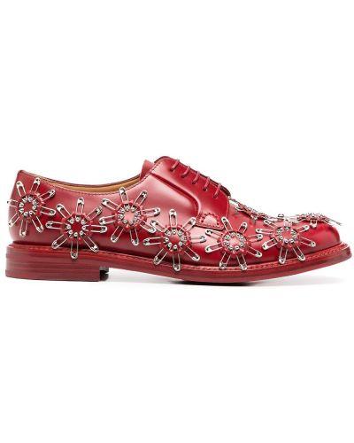 Кожаные красные туфли на шнуровке на шнуровке на плоской подошве Comme Des Garçons Noir Kei Ninomiya
