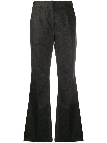 Кашемировые серые расклешенные брюки с потайной застежкой Christopher Kane