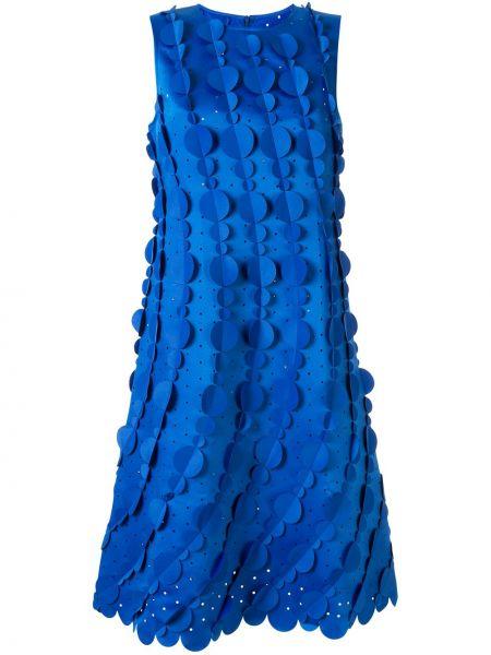 Синее прямое платье миди без рукавов с вырезом Paskal